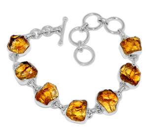 20g Citrine Rough 925 Sterling Silver Bracelet Jewelry CTRB22