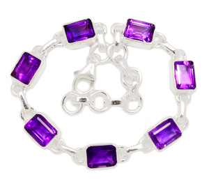 13g Faceted Amethyst 925 Sterling Silver Bracelet Jewelry AMFB217