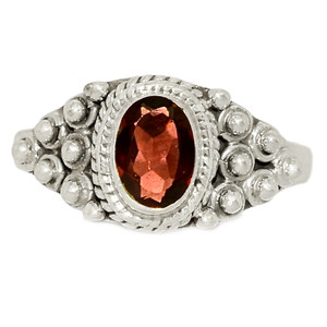 Faceted Garnet 925 Sterling Silver Ring Jewelry s.7.5 GNFR751