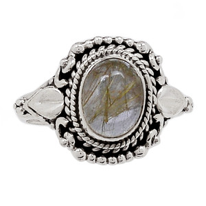 Golden Rutile 925 Sterling Silver Ring Jewelry s.7.5 GRUR781