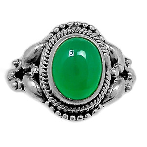 Green Onyx 925 Sterling Silver Ring Jewelry s.7 GROR599