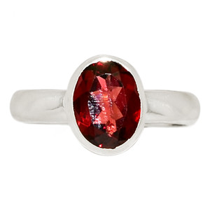 Faceted Garnet 925 Sterling Silver Ring Jewelry s.6.5 GNFR722