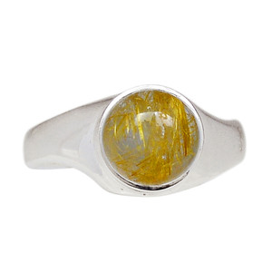 Golden Rutile 925 Sterling Silver Ring Jewelry s.10 GRUR805