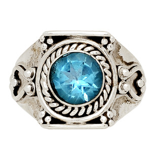Blue Topaz 925 Sterling Silver Ring Jewelry s.8 BLTR1533