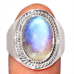 Blue Fire Rainbow Moonstone 925 Sterling Silver Ring Jewelry s.8 BFMR4121