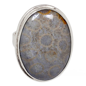 13g Indonesian Fossil Coral 925 Sterling Silver Ring Jewelry s.8 FSCR214