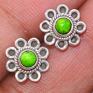 Filigree - Green Mohave Turquoise 925 Silver Earrings Stud Jewelry GMTS109
