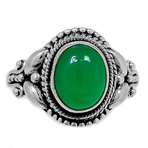 Green Onyx 925 Sterling Silver Ring Jewelry s.6 GROR541