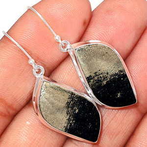Pyrite in Magnetite - Healer's Gold 925 Sterling Silver Earrings Jewelry PIME469