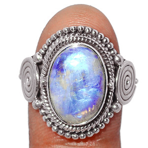 Blue Fire Rainbow Moonstone 925 Sterling Silver Ring Jewelry s.8.5 BFMR4227
