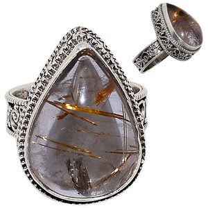 Golden Rutile 925 Sterling Silver Ring Jewelry s.7 GRUR801