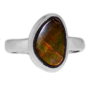Genuine Canadian Ammolite 925 Sterling Silver Ring Jewelry s.9 AMLR1027