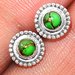 Copper Green Turquoise925 Sterling Silver Stud Earrings Jewelry GCTS235