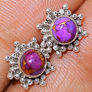 Purple Mohave Turquoise 925 Sterling Silver Earrings Studs  Jewelry PMTS103