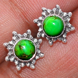 Filigree - Green Mohave Turquoise 925 Silver Earrings Stud Jewelry GMTS102