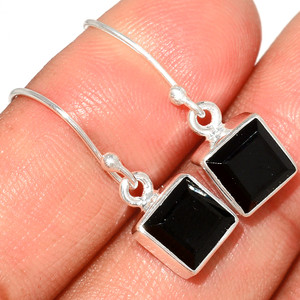 Faceted Black Onyx 925 Sterling Silver Earring  Jewelry BOFE566