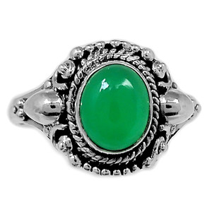 Green Onyx 925 Sterling Silver Ring Jewelry s.8 GROR538