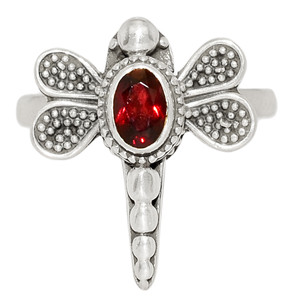 Faceted Garnet 925 Sterling Silver Ring Jewelry s.8 GNFR718