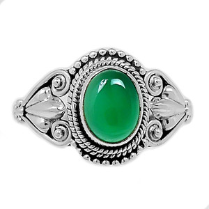 Green Onyx 925 Sterling Silver Ring Jewelry s.8 GROR531