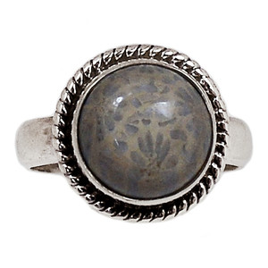 Indonesian Fossil Coral 925 Sterling Silver Ring Jewelry s.7 FSCR213