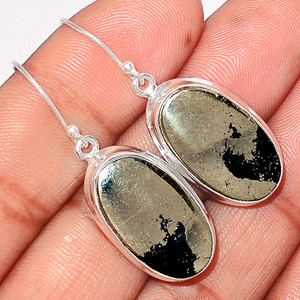 12g Pyrite in Magnetite - Healer's Gold 925 Silver Earrings Jewelry PIME442