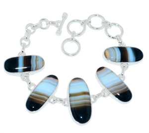 20g Banded Agate 925 Sterling Silver Bracelet Jewelry BBAB69