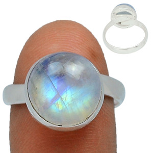 Adjustable Ring - Blue Fire Moonstone 925 Silver Ring Jewelry s.7 BFMR122