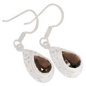Smokey Quartz 925 Sterling Silver Earrings Jewelry E2166S