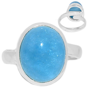 Adjustable Ring - Aquamarine 925 Sterling Silver Ring Jewelry s.8 AQMR956