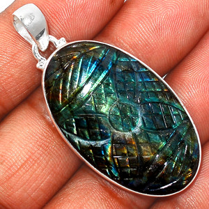 13g Carved Multi Labradorite 925 Sterling Silver Pendant  Jewelry CLBP383