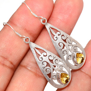 Citrine 925 Sterling Silver Earrings Jewelry CITE1585
