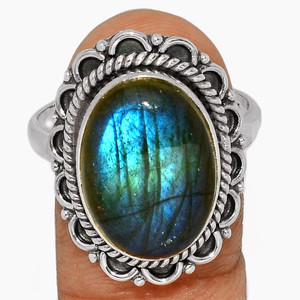 Blue Fire Labradorite 925 Sterling Silver Ring Jewelry s.11 BFLR2396
