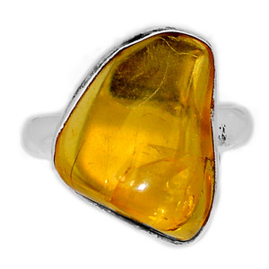 Baltic Amber 925 Sterling Silver Ring Jewelry s.8.5 BAMR256