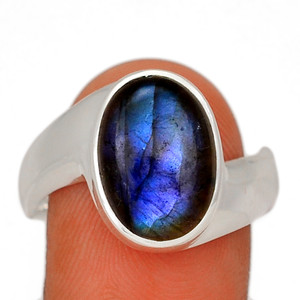 Blue Fire Labradorite 925 Sterling Silver Ring Jewelry s.11 BFLR2483