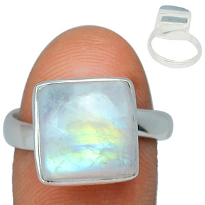 Adjustable Ring - Blue Fire Moonstone 925 Silver Ring Jewelry s.8 BFMR125