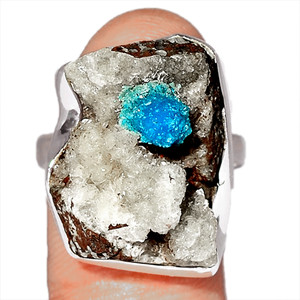 Cavansite Crystal 925 Sterling Silver Ring Jewelry s.7 CNCR229