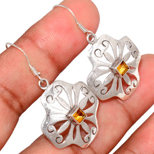 Citrine 925 Sterling Silver Earring  Jewelry CITE1586