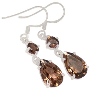 Smokey Quartz 925 Sterling Silver Earrings Jewelry E2164S
