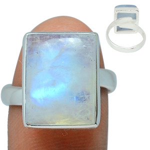 Adjustable Ring - Blue Fire Moonstone 925 Silver Ring Jewelry s.7 BFMR161