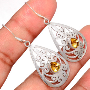 Citrine 925 Sterling Silver Earring  Jewelry CITE1587