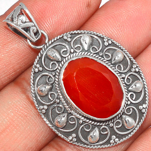Faceted Carnelian 925 Sterling Silver Pendant  Jewelry CRFP85