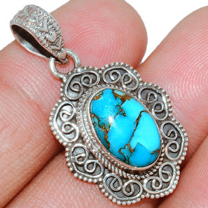 Copper Blue Turquoise 925 Sterling Silver Pendant  Jewelry BCTP1043
