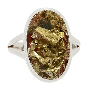 Mexican Pyrite Druzy 925 Sterling Silver Ring Jewelry s.9.5 PYDR344