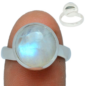 Adjustable Ring - Blue Fire Moonstone 925 Silver Ring Jewelry s.6.5 BFMR165
