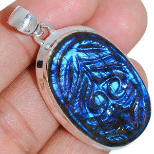 14g Carved Blue Fire Labradorite 925 Sterling Silver Pendant  Jewelry CBLP71