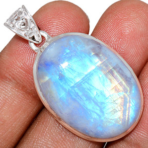 12g Blue Fire Rainbow Moonstone 925 Sterling Silver Pendant  Jewelry BFMP3884