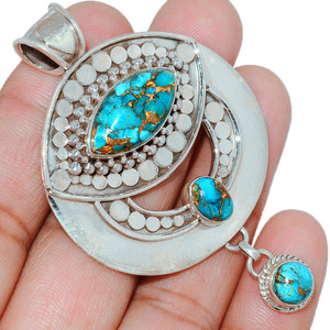 20g Copper Blue Turquoise 925 Sterling Silver Pendant  Jewelry BCTP1044
