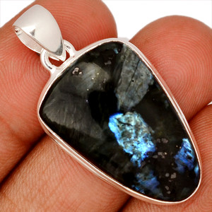 Larvikite Black Moonstone 925 Sterling Silver Pendant  Jewelry LBMP654