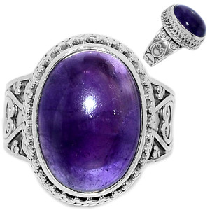 Amethyst 925 Sterling Silver Ring Jewelry s.9.5 AMCR2020