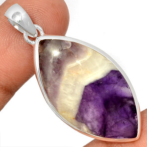 Amethyst Lace Agate 925 Sterling Silver Pendant  Jewelry ALAP803